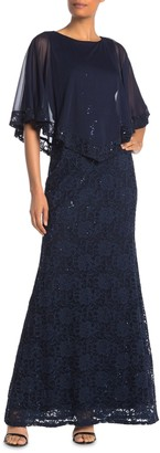 Onyx Nite Floral Lace Popover Gown (Regular & Plus Size)