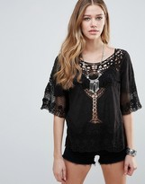 Raga Dove Lace Detail Top