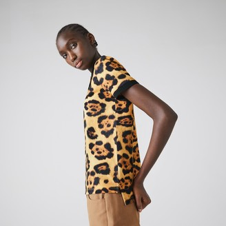 Lacoste Womens x National Geographic Animal Print Pique Polo Shirt