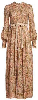 Zimmermann Freja Paisley Puff-Sleeve Midi Dress