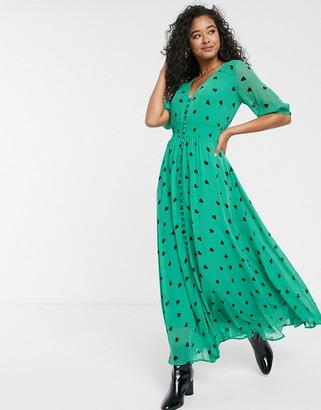 Ghost Valentina heart print maxi dress