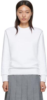 Thom Browne White Classic Loopback Crewneck Sweatshirt