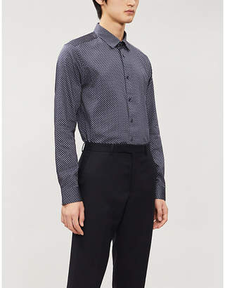 Ted Baker Geometric-print slim-fit cotton shirt