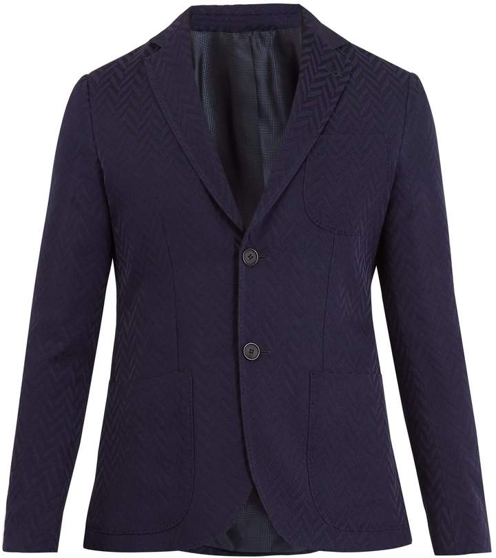 Giorgio Armani Single-breasted geometric-pattern blazer