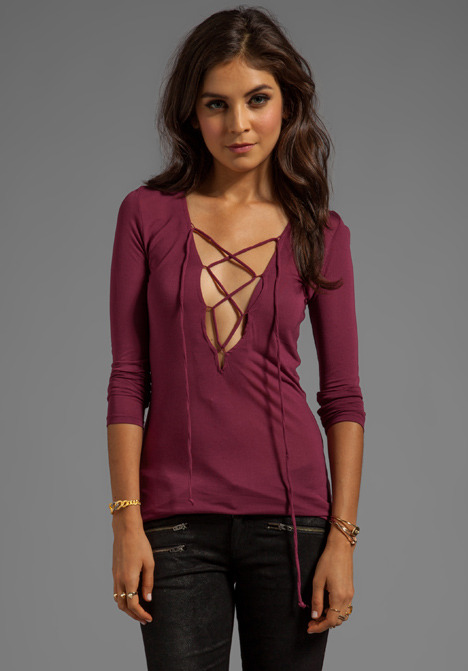 Blue Life Lace Up Material Girl Top