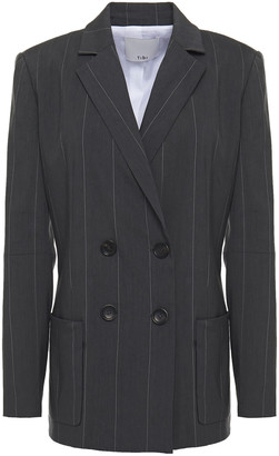 Tibi Double-breasted Pinstriped Linen-blend Blazer