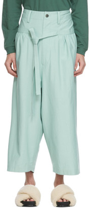 Issey Miyake Blue Stretch Low Crotch Trousers