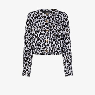 Versace Leopard Print Knitted Cardigan