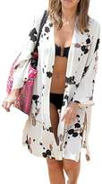 Qin.Orianna Women's Causal Printed Cotton Kimono Cardigan Beach Cover Up Top