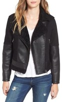 Blank NYC BLANKNYC Faux Leather & Denim Moto Jacket with Faux Shearling Lining