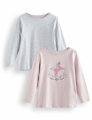 Amazon Brand - RED WAGON Girl's Long Sleeve Top Pack of 2
