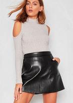 Missy Empire Kira Black Faux Leather Pocket A-Line Mini Skirt