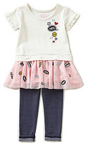 Flapdoodles Little Girls 2T-6X Patch Applique Drop Waist Dress & Denim Leggings Set