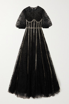 Costarellos Linsey Sequin-embellished Flocked Tulle Gown - Black