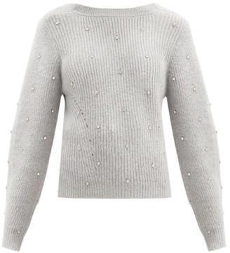 Self-Portrait Crystal-embellished V-back Ribbed-knit Sweater - Light Grey