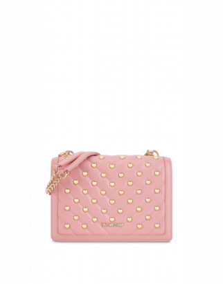 Love Moschino Shoulder Bag With Heart Studs Woman Pink Size U It - (one Size Us)