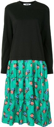 MSGM Floral Print Panelled Sweatshirt Dress