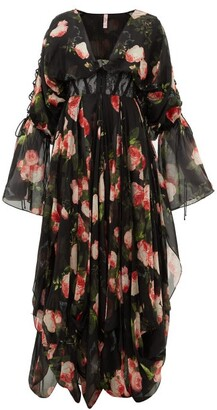 Agent Provocateur Elora Lace And Floral-point Silk Robe - Womens - Black Multi