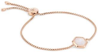 Katie Belle Rosina 18ct Rose Gold Vermeil Hexagon Gemstone Bracelet - Rainbow Moonstone