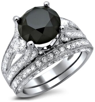 Front Jewelers 18k White Gold 4 & 2/5ct TDW Black and White Diamond 3-stone Engagement Ring Set