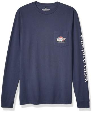 Vineyard Vines Men's Long Sleeve 2019 Santa Whale Pocket Tee