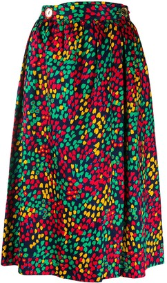 Celine Pre-Owned abstract heart print gathered skirt