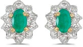 Direct-Jewelry 10k Yellow Gold Oval Emerald And Diamond Earrings