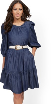New York & Co. Denim Puff-Sleeve Fit and Flare Dress