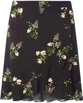 Black Ditsy Ruffle Mini Skirt
