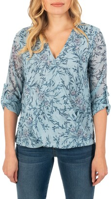 KUT from the Kloth Floral Surplice Blouse