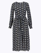 Per Una UsMarks and Spencer Printed Tie Waist Midi Dress