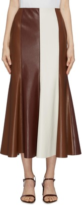 Nanushka 'Artem' fluted patchwork vegan leather skirt