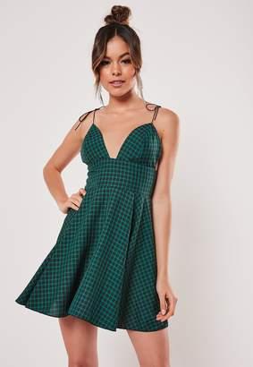 Missguided Green Check Plunge Tie Strap Mini Dress