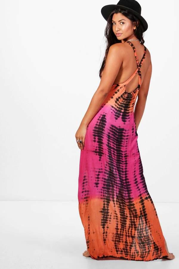 boohoo Grace Tie Dye Maxi Beach Dress
