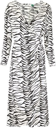 Rixo Betty Zebra Print Wrap Dress