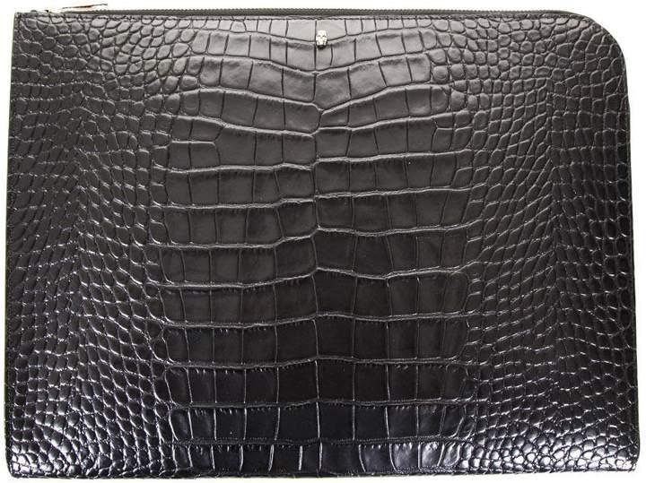 Alexander McQueen Black Leather Skull Case With Crocodile Print