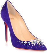 Christian Louboutin Candidate 100 purple suede embellished pump