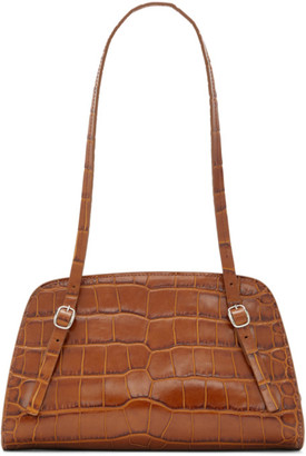 BY FAR Brown Croc Lora Shoulder Bag