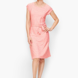 Talbots Mixed Stripe Tie Belt Dress