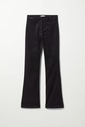 Weekday Rydel Flare Velvet Trouser - Black
