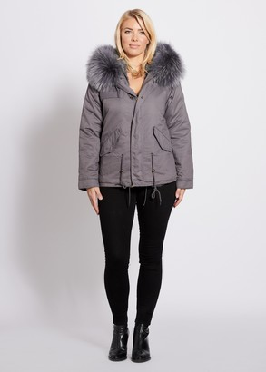 Popski London Grey Parka Jacket With Matching Raccoon Fur Collar