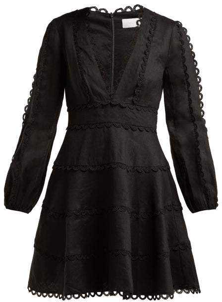 Zimmermann Heathers Linen Dress - Womens - Black