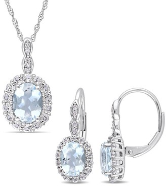 Miadora Signature Collection 14k White Gold Aquamarine White Topaz & Diamond Accent Necklace and Leverback Earrings Set