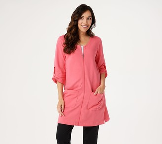 Denim & Co. French Terry Front Zip Beach Cover-Up