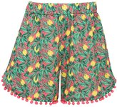 M&Co Tropical pom pom trim shorts