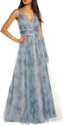 Marchesa V-Neck Floral Tulle Bridesmaid Gown