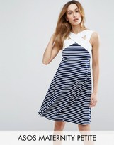 Asos PETITE Stripe Mini Skater Dress with Contrast Neck Detail