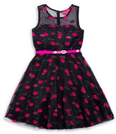 Betsey Johnson Girls 2-6x Printed Sateen Belted Dress