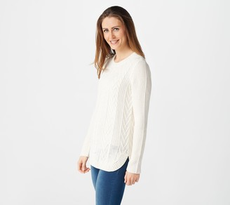 Denim & Co. Petite Pullover Cable Knit Sweater
