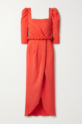 Johanna Ortiz Classic Meetings Belted Crinkled-crepe Midi Dress - Tomato red